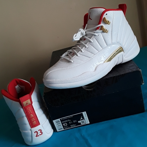 Nike Shoes Air Jordan 12 Retro Fiba White Red Size 10 Poshmark